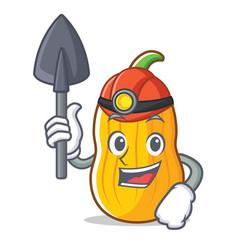 Miner butternut squash mascot cartoon vector