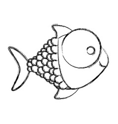 Monochrome sketch of fish with big eye and scales vector