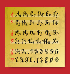 musical decorative education music notes alphabet vector image