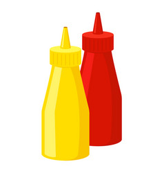 mustard and ketchup icon fastfood isolated sweet vector image