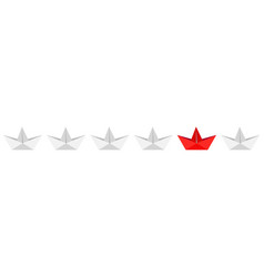 origami paper boat ship icon set white and red vector image