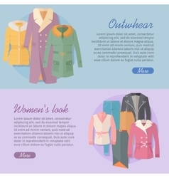 Outerwear Women s Look Web Banner Apparel vector