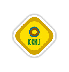 paper sticker on white background donut vector image