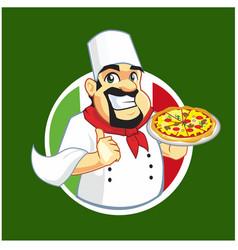 pizza chef logo cartoon vector image