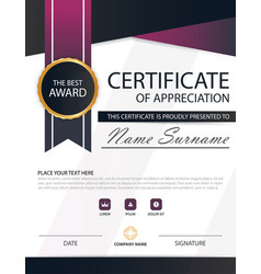 Purple black elegance horizontal certificate with vector