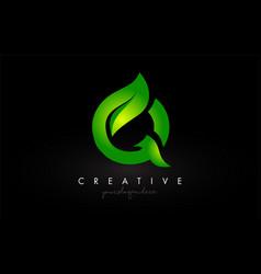 Q leaf letter logo icon design in green colors vector