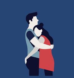 Quality flat on abstract romantic couple hugging vector