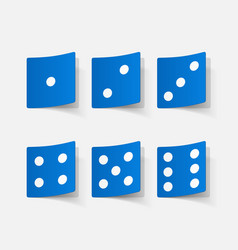 Realistic paper sticker dice vector
