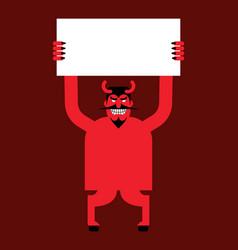 Red devil hand holding white sheet satan holds vector