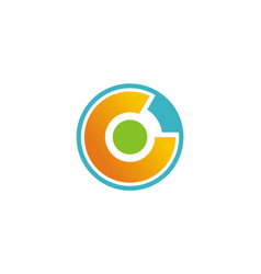 round letter c technology logo vector image