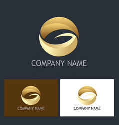 Round letter g gold company logo vector