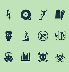 safety icons set with bio-hazard hand protection vector image