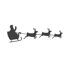 Santa s Sleigh With Reindeer Silhouette vector
