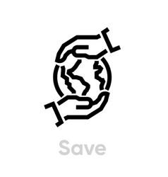 save globe planet editable line vector image