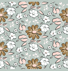 seamless flowers vintage hand drawn brown beige vector image