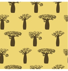 seamless pattern from hand drawing baobabs vector image