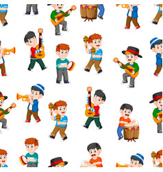 seamless pattern with happy boys playing music vector image