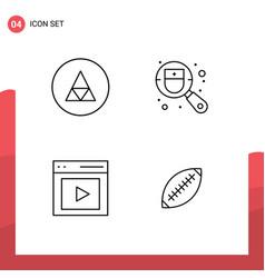 Set 4 commercial filledline flat colors pack vector