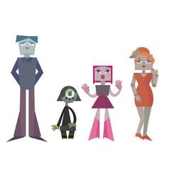 set charismatic robot family vector image