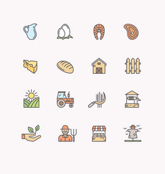 set flat icons of linear natural products vector image