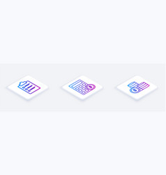 set isometric line clipboard with checklist vector image