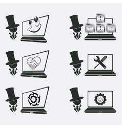 Set logo for computer repair vector