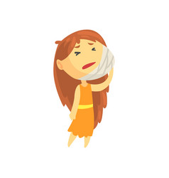 sick girl with long hair holding her bandaged vector image