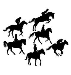 Silhouette horseman vector