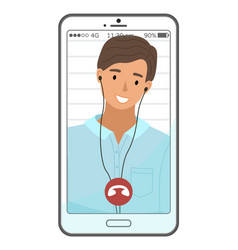 smiling man having conference video call people vector image