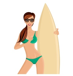 Surfer girl portrait vector image