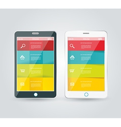 Touch screen smartphone with modern infographic vector image