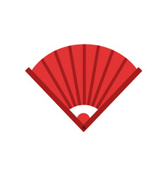 traditional chinese bamboo hand fan icon in red vector image