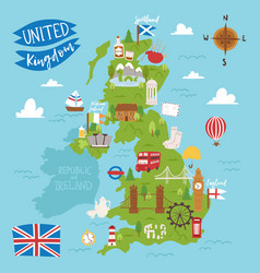 United kingdom great britain map travel city vector