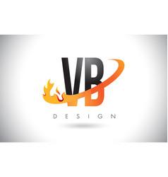 Vb v b letter logo with fire flames design vector