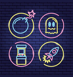 video game neon vector image