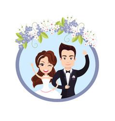 Wedding celebration female bride waving with male vector