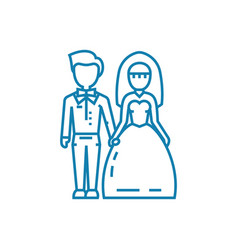 Wedding ceremony linear icon concept wedding vector
