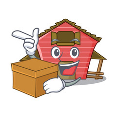 With box a red barn house character cartoon vector