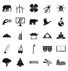 World heritage icons set simple style vector