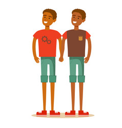 Young african american homosexual family vector