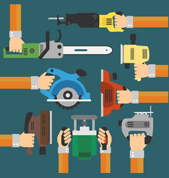 Builders tools modern flat background with hand vector