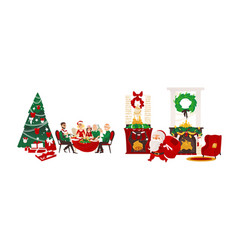 christmas holiday scenes set vector image