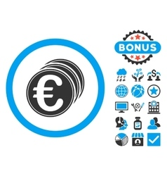 Euro Coins Flat Icon with Bonus vector image vector image