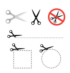 scissors icon collection vector image