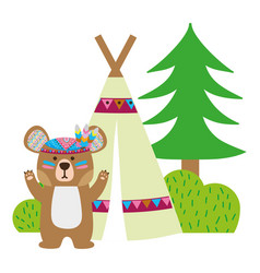 Colorful bear animal with camp next to bush and vector