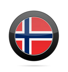 flag of norway shiny black round button vector image vector image
