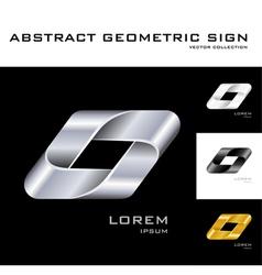 Geometrical sign logo design template black white vector