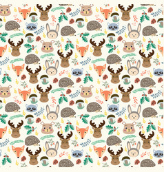 seamless pattern with cute cartoon forest animals vector image vector image