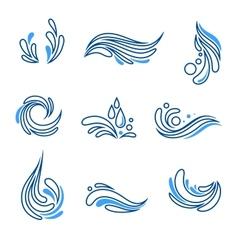 Water drop and splash eco icon set vector image