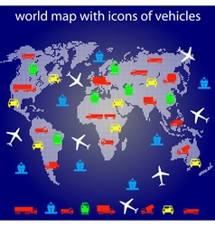 world map with icons vector image